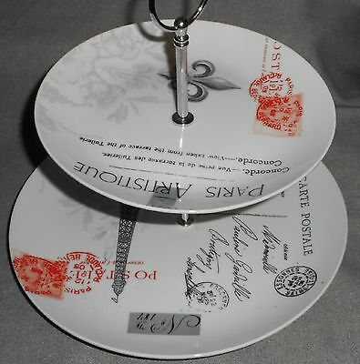 PPD PAPER PRODUCTS Design PARIS PATTERN Paula Scaletta TWO TIER PORCELAIN  TRAY