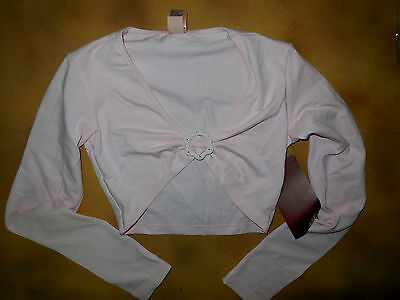 NWT Dance Mirella Pink Long Sleeve Shrug Diamante Buckle Girls Child M/L M702C