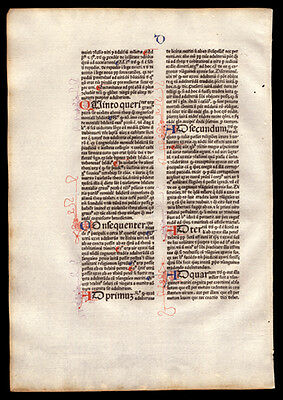 Rare 1477 Incunable Commentary on  Sentences of Peter Lombard Bishop of Paris