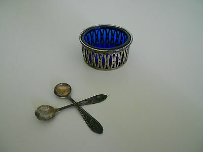 Sterling Silver Salt Cellar with Cobalt Blue Insert and 2 Tiny Sterling Spoons