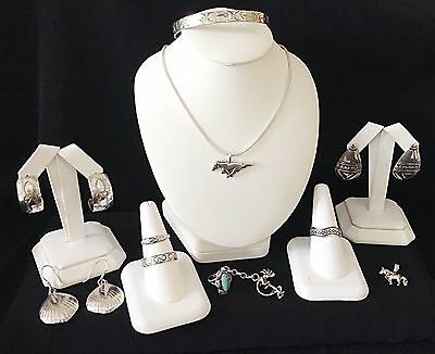 Vintage Sterling Silver Mixed Jewelry lot Southwest Mexico Turquoise Navajo 70g