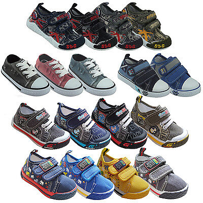 Boys Kids Childrens Shoes Trainers Casual Canvas Toddler Size 4 5 6 7 8 9 10 11