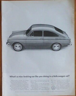 VOLKSWAGEN FASTBACK Car Print Ad 1960's Vintage Advertisement