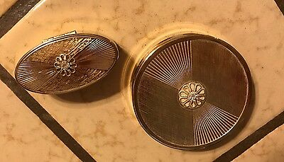 Vintage Max Factor Lot Of 2 -Cream Puff Compact & High Society Lipstick Case