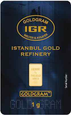 1 Gram 999.9 24K Istanbul Gold Refinery Bar IGR ( In Assay )
