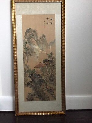 Vintage Chinese Watercolor Painting Mountain Trees Pagoda Scholar Signed