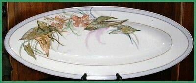 "Fish Serving Platter - Hand Painted - 23"" Long - Antique- A.g. 1873 - 1893"