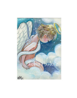 ACEO. Original ART Card, Little angel on clouds, Mini painting.