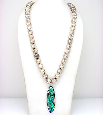 Navajo Handmade Sterling Silver Bead & Long Turquoise Pendant Necklace  | G LT