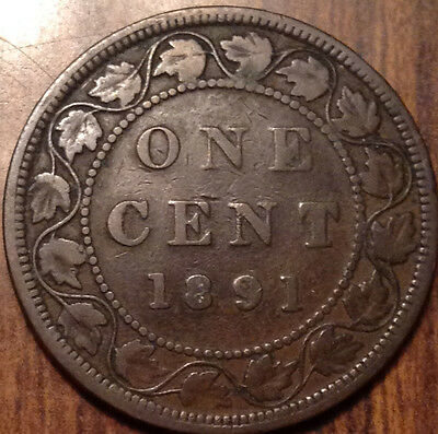 1891 Ldll Canada Large 1 Cent In Good Condition