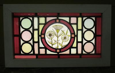 """VICTORIAN ENGLISH LEADED STAINED GLASS  WINDOW Painted Flowers 23.25"""" x13.75"""""""
