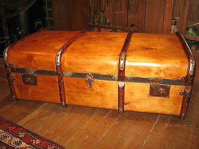 Antique Steamer Trunk Bent Wood Chest Restored Flat Top Coffee Table