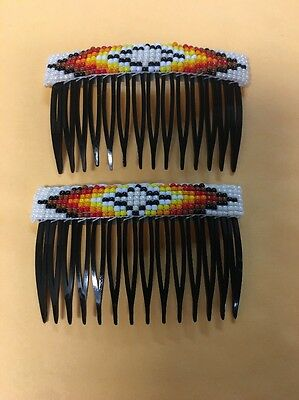 Navajo Indian Jewelry Hand Beaded Hair Combs Clip Barrette Very Nice Beads  #LL