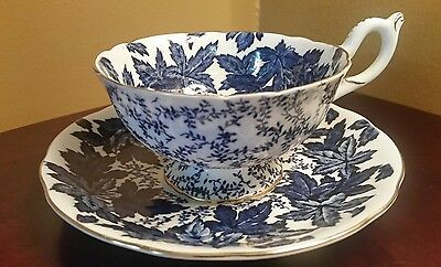 Wide Coalport Cobalt Blue Chintz English  Teacup & Saucer