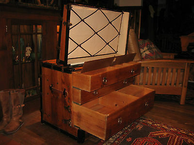 Huge Antique Restored Flat Top Slat Steamer Trunk Stage Coach Chest 3 Drawers