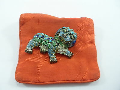 Vintage/Antique Sterling Silver & Enamel Chinese Foo Dog Pin Gold Gilt