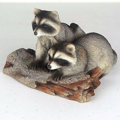"Raccoons on a Log - Collectible Figurine Miniature - 6""L New in Box"