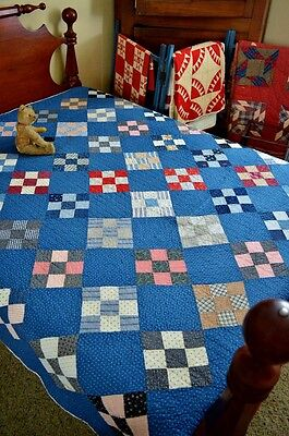 Antique Hand Stitched Blue Calico Nine Patch on Point Quilt *