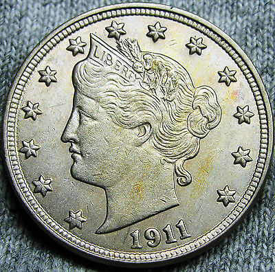 1911 Liberty V Nickel U.S. Coin --- STUNNING --- #N027