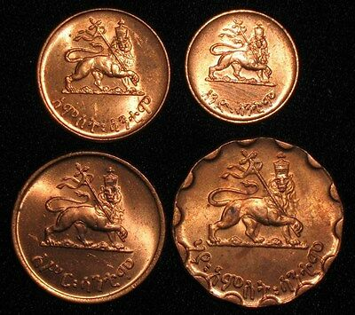 4 Coins from Ethiopia.  Haile Selassie!!!  Lion of Judah!!   No Reserve!