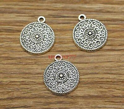20pcs Flower Charms Foral Disc Round Alloy Charms Antique Silver Tone 17x20 2814