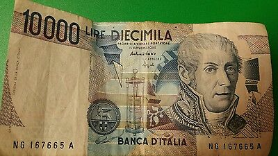 Banca D'Italia 10000 Lire Diecimila paper money dated 1984
