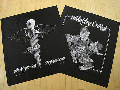 LOT!! two 80s vtg MOTLEY CRUE banner WALL FLAG tapestry POSTER music METAL nos