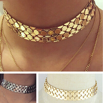 Punk Gothic Women Metal Chain Wide Silver Gold Choker Pendant Statement Necklace