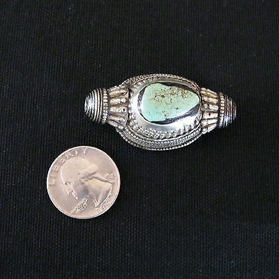 Antique Tibetan Silver and Turquoise Hair Bead