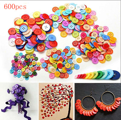 600Pcs Mixed Color 4-holes Buttons Sewing Craft Scrapbooking DIY Amazing