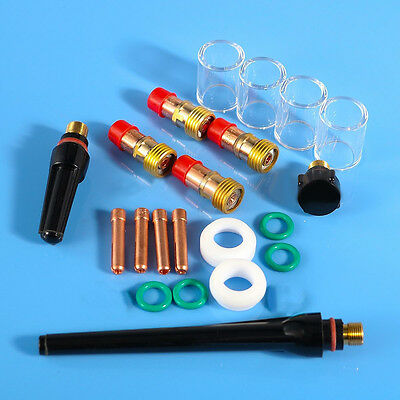 TIG Welding Torch Gas Lens #10 Pyrex Glass Cup Kit 21 pcs For WP-17/18/26 Series