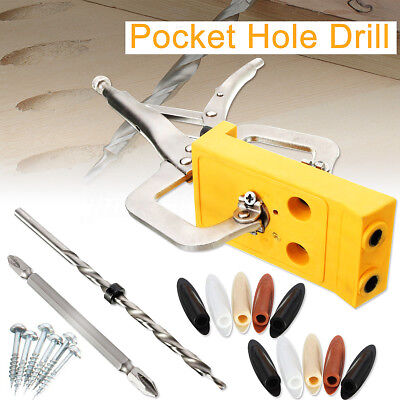 Wood Woodworking Pocket Hole Drill Guide Jig Kit Hole Locator Pockethole Jig Set