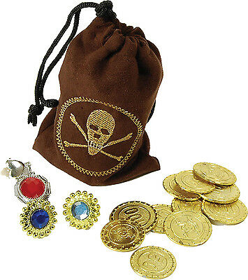 Caribbean Fancy Party Fake Coins Jewellery Pouch Loot Bag Treasure Prop UK