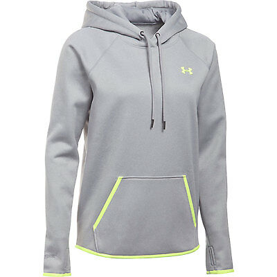 Under Armour Damen Hoodie Storm Icon Hellgrau/Gelb Pullover Zipper Frauen Top