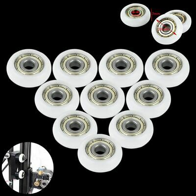 10 pcs Nylon Plastic Embedded Roller Groove Ball Bearings 5*23*7mm Guide Pulley