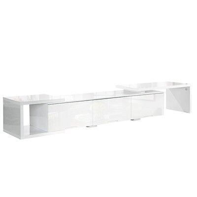 NEW 290cm Long High Gloss Adjustable TV Stand Home Entertainment Unit - White