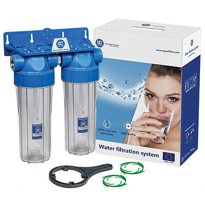 """Twin 10"""" Filter Housing Set Two Stage Water Filtration System 3/4"""" Ports"""
