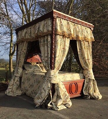 Antique Canopy 4 Poster Bed Carved Mahogany Pure Silk Drapes & With Bedding VGC