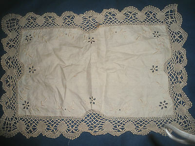 "A Very Pretty Cream Linen Cut Work Embroidered Cloth 20"" X 14.5"" With Lace Edge"