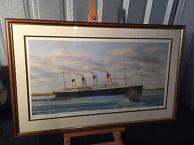 """Superb Framed Limited Edition """"Titanic at Queenstown"""" - Signed / 128 / 500"""