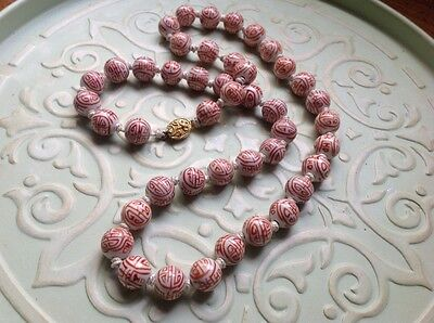 Rare Antique Vintage Chinese Hand Painted Knotted Porcelain Bead Necklace 26""
