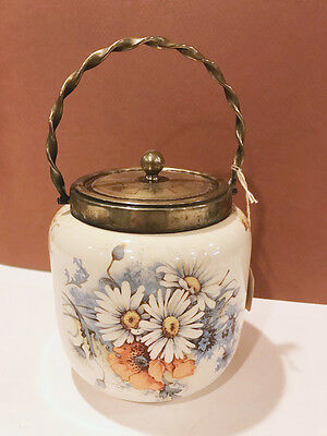 Antique Vintage English Biscuit Jar Daisy Floral w/ Gold Accents VERY NICE! A12
