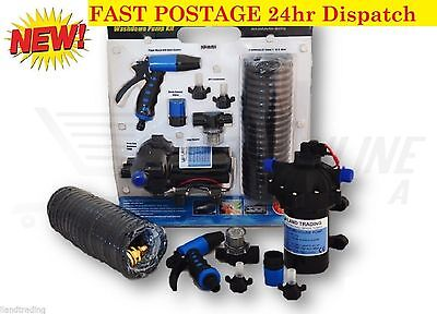 12v Washdown Pump Kit 20LPM 70 PSI Deck Wash Caravan Boat - 1 Year Warranty.
