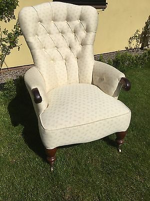 Antique Victorian Mahogany Framed Button Back Armchair