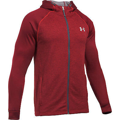 Under Armour Hoodie Tech Terry Fitted Rot  mit Reisverschluss Sweater Swaetshirt