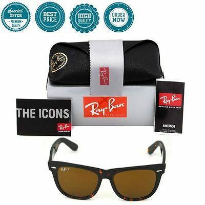 Authentic Ray Ban Wayfarer RB2140 Tortoise 902/57 Polarized Brown 54mm Lens NEW