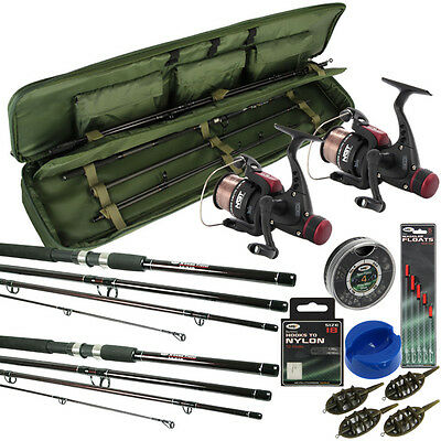 Travel Fishing Rod And Reel Set 9Ft Rods Reels Bag Holdall Floats Hooks Feeders