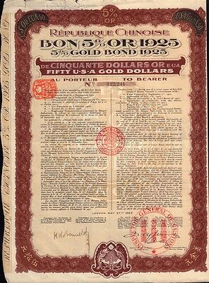 CHINA Gold Bond 1925 5% USD 50.00 with uncancelled dividend coupons