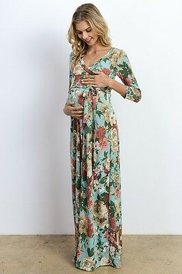 Hello Miz Long Sleeve Floral Print, Side Tie Maternity Maxi Dress | Made In USA