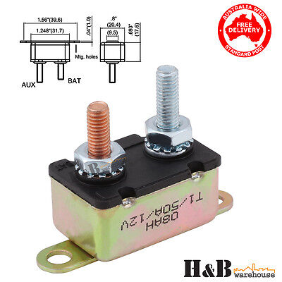 50A AMP 12V Circuit Breaker Dual Battery Fuse Automatic Auto Reset C0113